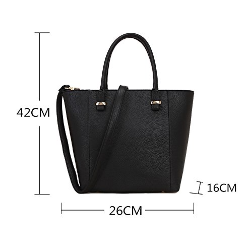 Strap Lightweight Laptop Bag Black Teacher Bag Simple PU body Bags Tote LS Cross Square Ladies Zip Shopper Top Grab Leisure with Shoulder Bag Leather Long t6xqSnZU