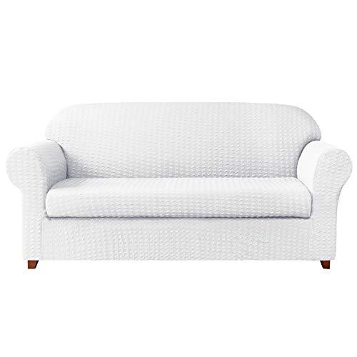 (Subrtex 2-Piece High Stretch Sofa Slipcovers Durable Soft Jacquard Embossed Fabric, Machine Washable Sofa Covers, 3 Seater (Sofa, White))