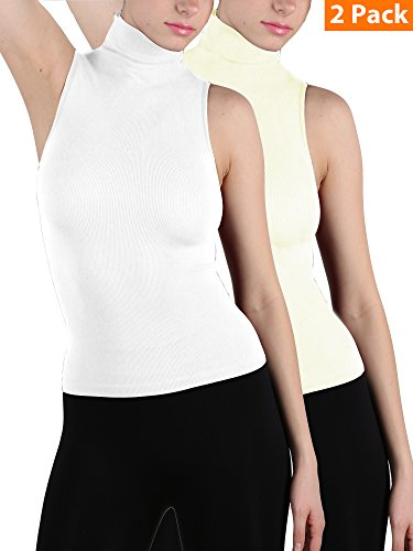 Ekimo T-USA 2 Pack Women Seamless Mock Neck Turtleneck Sleeveless Blouse Shirt Body Shaping Tee Shirts (Ivory/White) (Ivory Shirt Turtleneck)