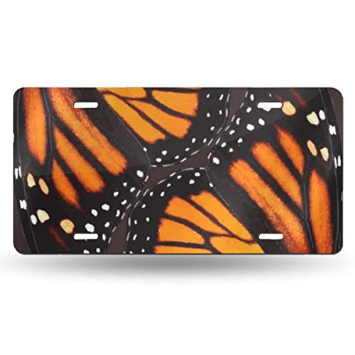 CHETEBFC Orange Monarch Butterfly Wings Personality Funny License Plate Aluminum Auto Car Tag 6