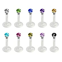 JewelrieShop 10Pcs Acrylic Lip Studs Set Sparkly Push In Labret Monroe Tragus Cartilage Body Piercing
