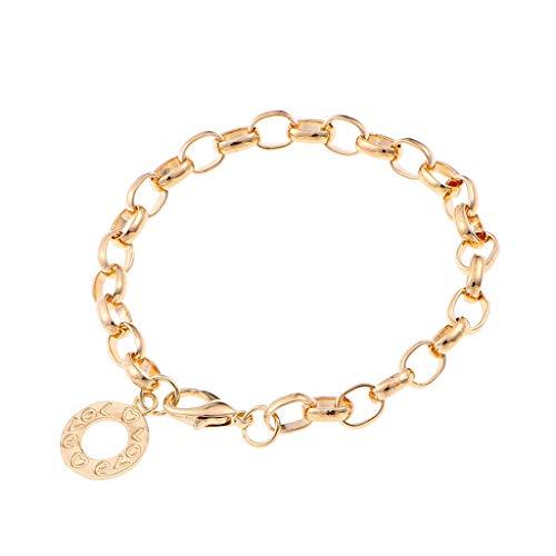 Stylish 5Pcs Lobster Clasps Wrist Bracelet Round Metal Charm jewelry Chain Links Bracelets Women(KC Golden,19cm Length) Collection Diamond Cuff Bracelet