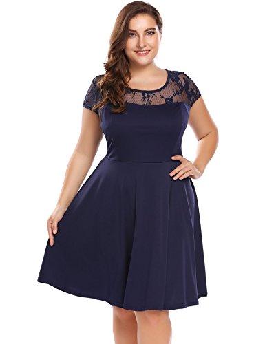 Womens Plus Size Lace Cap Sleeve Fit and Flare Vintage Party Dress - Involand Ladies Floral Lace Side Zip Elegant Tea Dress, Navy, 18 Plus