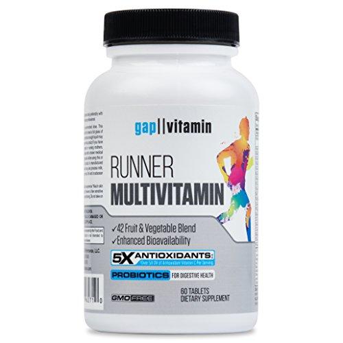 Runner Multivitamin: Engineered for Runners | Antioxidants: Vitamin C (5x), Vitamin E (2x) | Energy, VO2 Max: Vitamin B12 (10x), Vitamin D| Whole Food Vitamin | GMP Certified | 1 Month