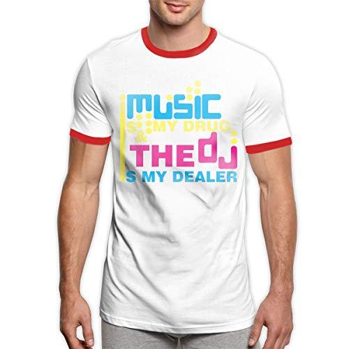 (Men's Essential Cotton Ringer T-Shirt Music is My Drug Print Tee Shirt Top)