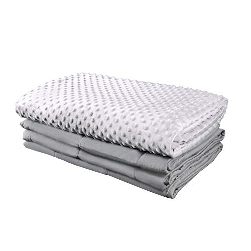 COMHO Weighted Blanket & Removable Cover, 15 lbs 100% Cotton/Minky Grey