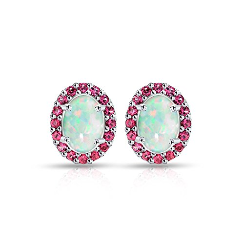 Sterling Silver Simulated White Opal and Simulated Gemstone Colors Oval Halo Stud Earrings