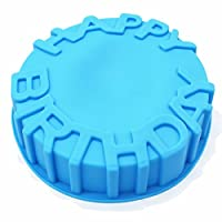 X-Haibei 7 pulgadas Feliz Cumpleaños Molde de Pastel Pan Chocolate Pizza Bandeja de Hornear Molde de Silicona