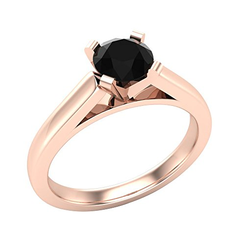 Solitaire Diamond Engagement Ring Round Brilliant Cut 14K Rose Gold 2/3 ctw (Ring Size 7) - Round Brilliant Diamond Ring Rings