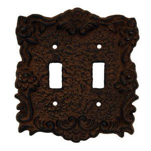 Rustic Switchplate Covers - Rustic Brown Cast Iron Double Switch Cover Plate