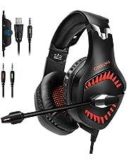 Auriculares Gaming con Microfono PS4, Xbox, con micrófono para PC Juego de computadora con cancelación de ruido y control de volumen rojo