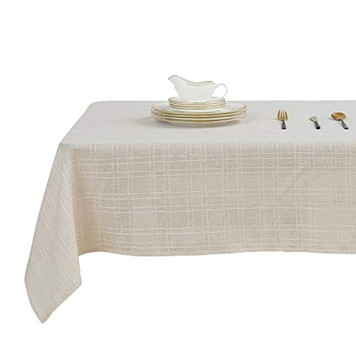 Beige Tablecloth - Deconovo Checkered Faux Linen Tablecloth Wrinkle