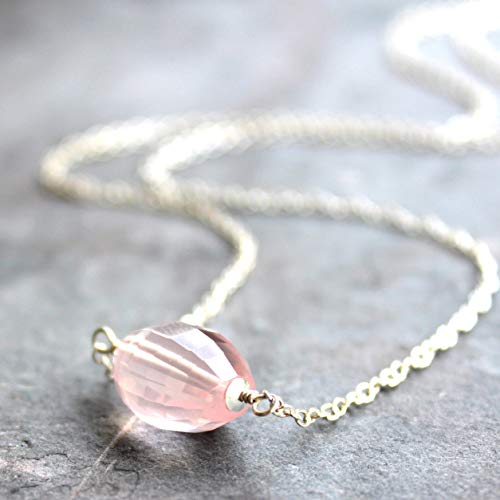 (Simple Rose Quartz Necklace Sterling Silver Faceted Barrel Pink Gemstone)