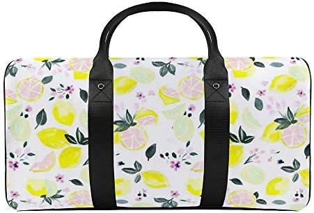柑橘類の花ピンクレモネード1 旅行バッグナイロンハンドバッグ大容量軽量多機能荷物ポーチフィットネスバッグユニセックス旅行ビジネス通勤旅行スーツケースポーチ収納バッグ