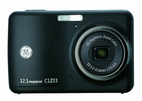 GE C1233 12MP Digital Camera with 3X Optical Zoom and 2.4 Inch LCD with Auto Brightness - Memory Internal Camera Digital 8mb