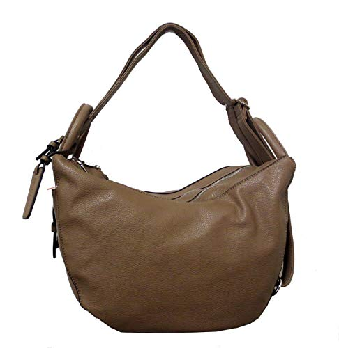 Simply Noelle Vegan Faux Leather Buckle Collection Convertible Hobo to Backpack Handbag (Taupe) HB2090