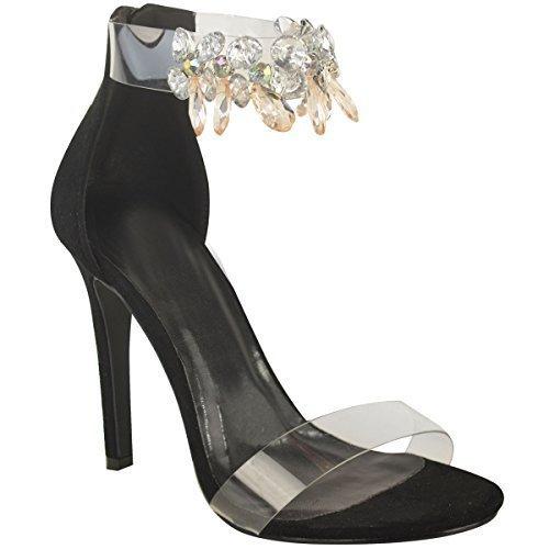 Mujer Perspex Correa pedrería Gema Adornado Zapatos de tacón tacones Sandalias Talla - Carne Ante Artificial, 41