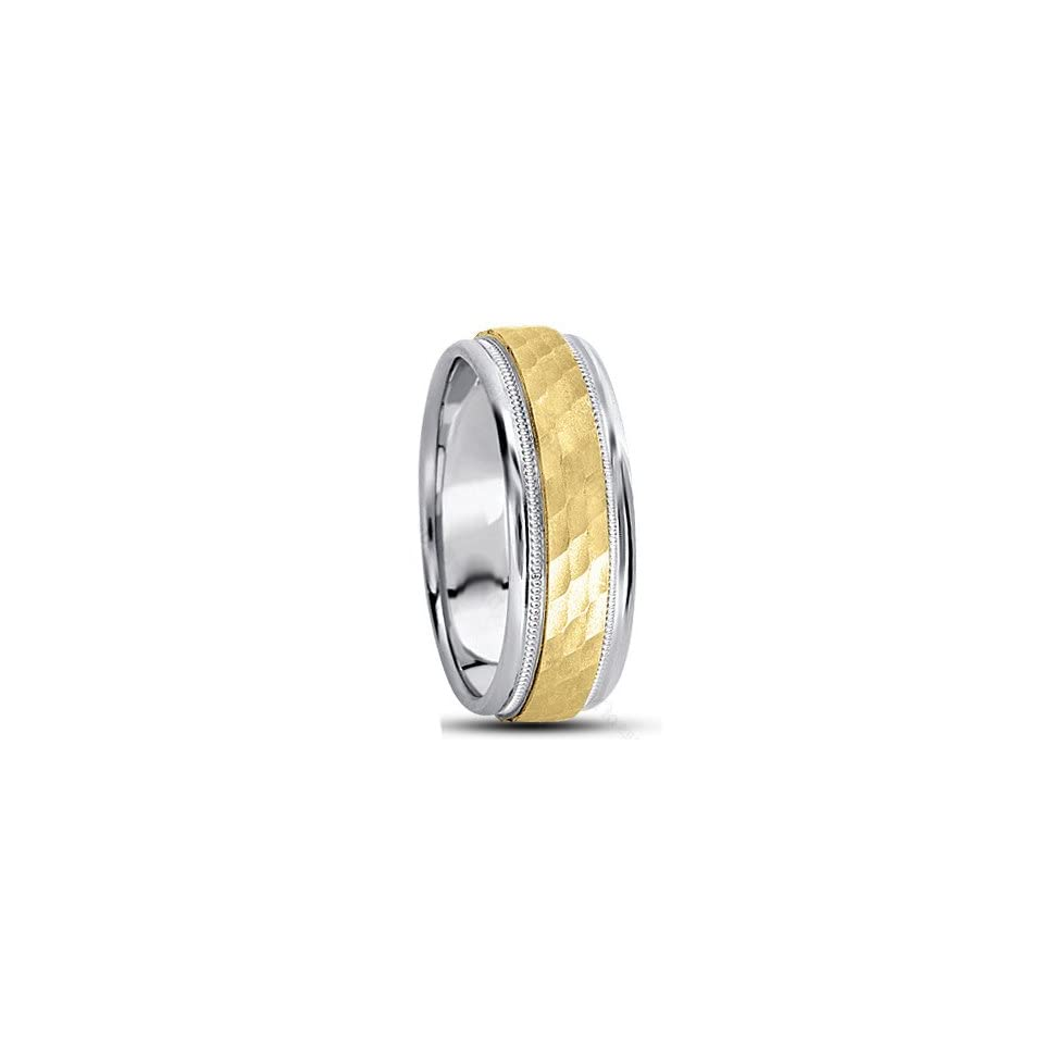 SE598 8.0 Millimeters White Yellow White Two Tone Gold Wedding Band Ring with Hammered Center Finish with Milgrain and Polished Edges in 18Kt Gold, Finger Size 15