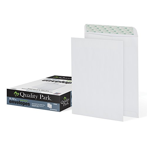 "Quality Park 9"" x 12"" Self-Sealing Catalog Envelopes, for Mailing, Organizing and Storage, White Wove, Heavy 28-lb Paper, 100 Per Box (QUA44582)"