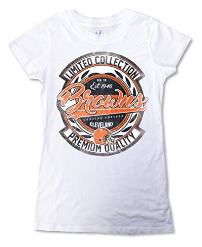 Zubaz NFL Cleveland Browns Women's Crew Neck Tee, Large, White