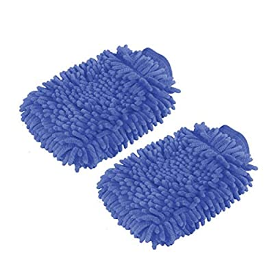 2 Pack. Premium car wash Microfiber Chenille mitt. Super auto Absorbent. Ultrafine Sponge Fiber Glove. Professional Cleaning at Home, Kitchen, Hand car Washing Care. Soap Chemical Resistant. (Blue): Automotive