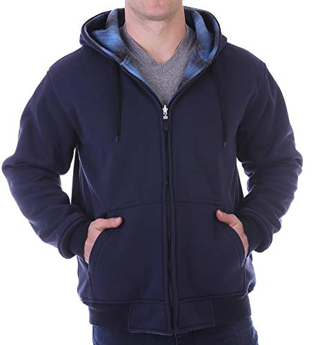 Woodland Supply Co. Men's Reversible Fleece Zip Up Hoodie,X-Large,Blue Ombre (Reversible Flannel Hoodie)
