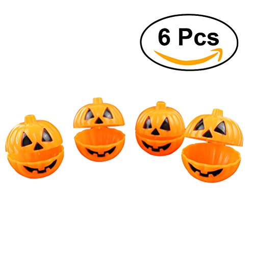 OULII Mini Pumpkin Storage Box Case Plastic Container for Halloween Gift Holder Props Party Favors 6pcs (Halloween Crafts Candy Holder)