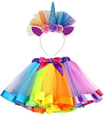 VAMEI Disfraz de Unicornio para Niñas Diadema Unicornio Floral con ...