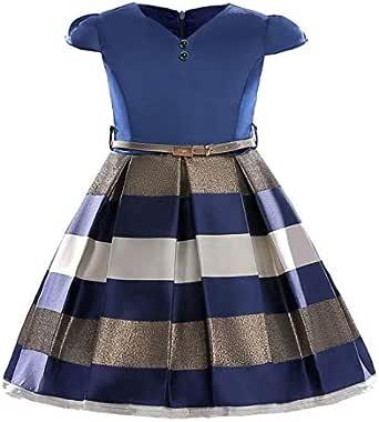 Summer short-sleeved horizontal princess dress dress European and American girl dress suitable for 130cm-Blue