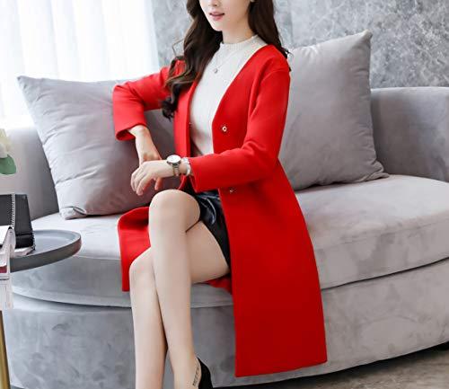 Laine vent Et Laine Automne Hiver Long Col Han 's Chaud Dames Manteau De Rouge Coupe Femmes En D'hiver V Vif Classique Ab Veste Coton wI41q51