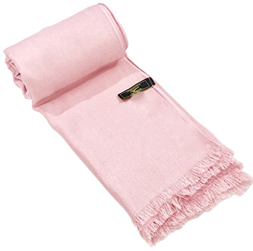 Baby Pink Solid Color Design Fringe Shawl Scarf Wrap Stole Pashmina CJ Apparel NEW