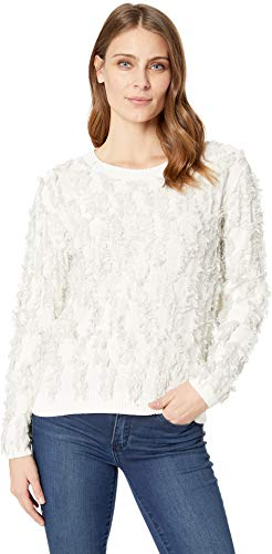 Two by Vince Camuto Women's Long Sleeve Crew Neck Fringe Sweater Antique White ()