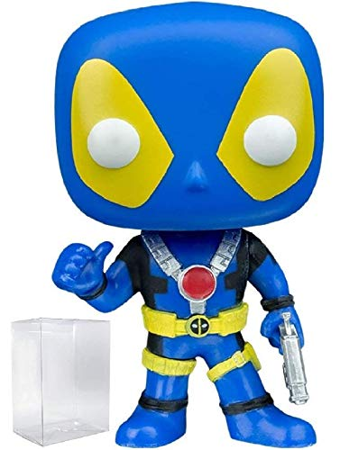 Funko Pop! Marvel: Blue X-Men Costume Deadpool with Thumbs Up FYE Exclusive Vinyl Figure (Bundled with Pop Box Protector -
