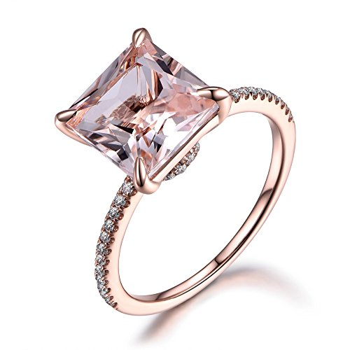 Morganite Engagement Ring Princess Cut Rose Gold 925 Sterling Silver CZ Thin Band Solitaire Ring Eternity by Milejewel Morganite Engagement Ring