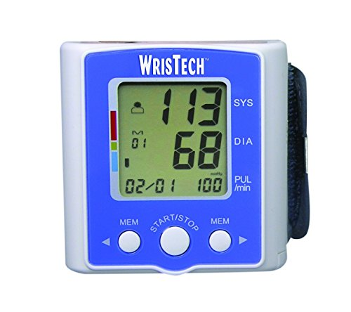 Blood Pressure Monitor WrisTech with Case - Lightning fast & Highly Accurate - Heart Rate Monitoring Device with Wrist Cuff & Case – 2 User Mode with 60 memory - Clinically Tested & Fully Automatic