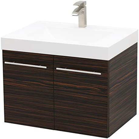 WindBay Wall Mount Floating Bathroom Vanity Sink Set. Ebony Vanity