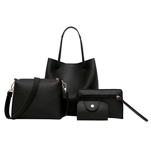 BURFLY 4Pcs Women PU Leather Bags Set, Fashion Handbag+Crossbody Shoulder Bag+Purse Bag+Card Holder Package Tote Bag of 4 for Women Girls Black