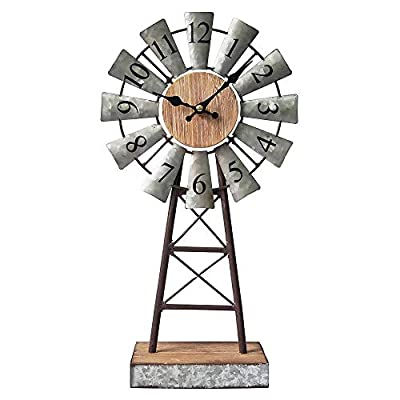 MODE HOME Galvanized Windmill Table Clock on Stand Vintage Desk Clock Decorative Farmhouse Kitchen Clock Mantle Clock - Factory direct,Vintage galvanized windmill tabletop clock on stand Clock measures 8.3L x 3.15W x 15.75H in Requires one AA battery; battery not included - clocks, bedroom-decor, bedroom - 41EXPL4Bs9L. SS400  -