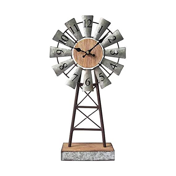 MODE HOME Galvanized Windmill Table Clock on Stand Vintage Desk Clock Decorative Farmhouse Kitchen Clock Mantle Clock - Factory direct,Vintage galvanized windmill tabletop clock on stand Clock measures 8.3L x 3.15W x 15.75H in Requires one AA battery; battery not included - clocks, bedroom-decor, bedroom - 41EXPL4Bs9L. SS570  -