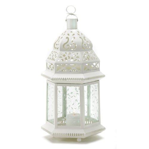 - Gifts & Decor Large White Moroccan Lantern Ornate Metal Glass Light