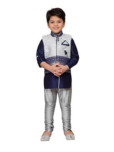 AJ Dezines Kids Indian Wear Bollywood Style Kurta Pyjama Waistcoat for Baby Boys (621-NAVY-BLUE-1) ()