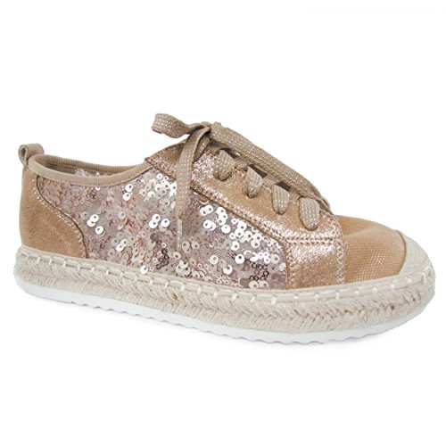 Snj Kvinners Flat Snøring Glitter Fashion Sparkly Sneaker Tan Glitter Up-to