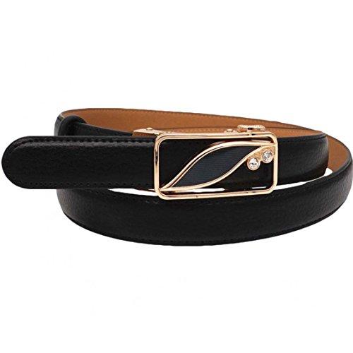 - Soft Direct Women's Leather Belt for Pants Dress Jeans Sliding Buckle 24mm Women Ratchet Belt Style 16 Black