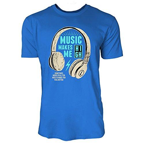 SINUS ART ® Kopfhörer – Music Makes Me High Herren T-Shirts in Blau Fun Shirt mit tollen Aufdruck