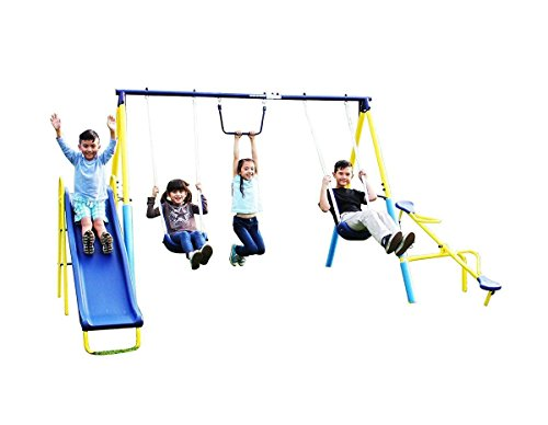 Swing Set Metal Outdoor Play Teeter Totter Trapeze Slide 6' Outdoor Toddler New, Rocket Science Toys, 2018