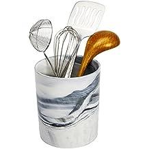Porcelain Kitchen Utensil Crock - Ceramic Planter Flower Pot - Grey Decorative Marble Food, Art and Office Supplies Holder - Vegetable Storage - by Marbelous