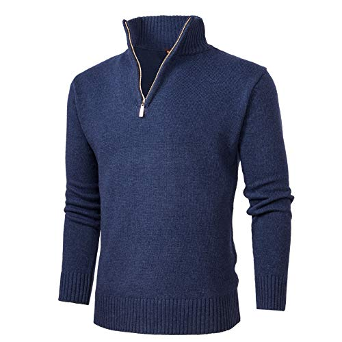 NALANION Mens Casual Wool Blend Pullover Sweaters 1/4 Zip Collar Knitted Sweater (Navy, -