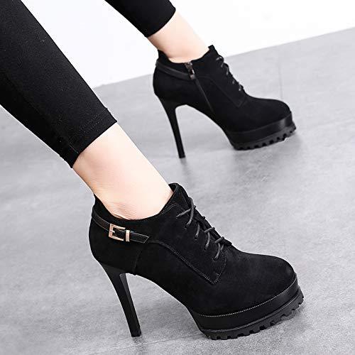 Waterproof Black Heel Platform Shoes Fine Thirty Four Shoes Winter 12Cm Suede Deep High Buckle Women'S KPHY Shoes Laces nqHTfBYx