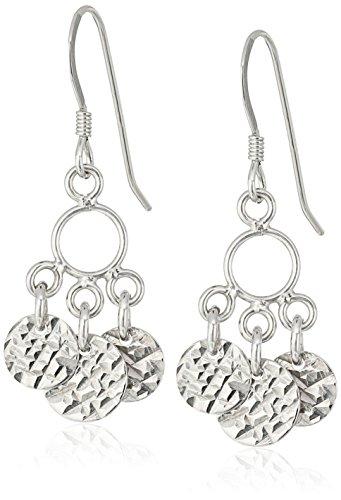 Sterling Silver Diamond Cut Round Chandelier Wire Dangle Earrings