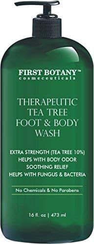 Antifungal Tea Tree Oil Body Wash - HUGE 16 OZ - 100% Pure & Natural - Extra Strength Professional Grade (Tea tree 10% conc) - Helps Soothe Toenail Fungus, Athlete Foot, Body Itch, Jock Itch & Eczema